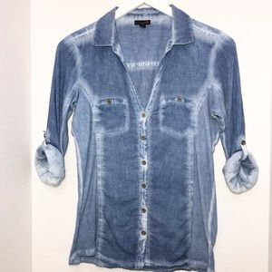 Guess G chambray button down shirt size Large